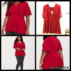 ❤️💄Torrid-RED STUDIO KNIT PEPLUM TOP-NWT💋👠